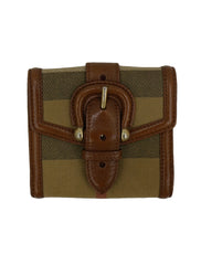 NOVA CHECK & LEATHER BUCKLE COMPACT WALLET