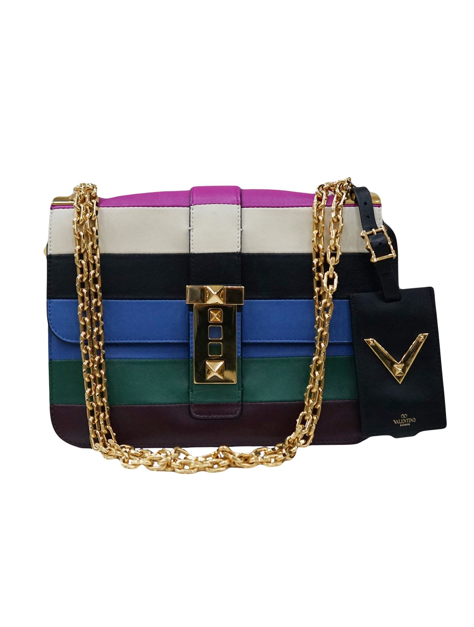 VALENTINO B ROCKSTUD COLOR BLOCK LEATHER BAG – Kidsstyleforless a6355b7ac6