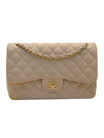 QUILTED LAMBSKIN LEATHER CLASSIC DOUBLE FLAP