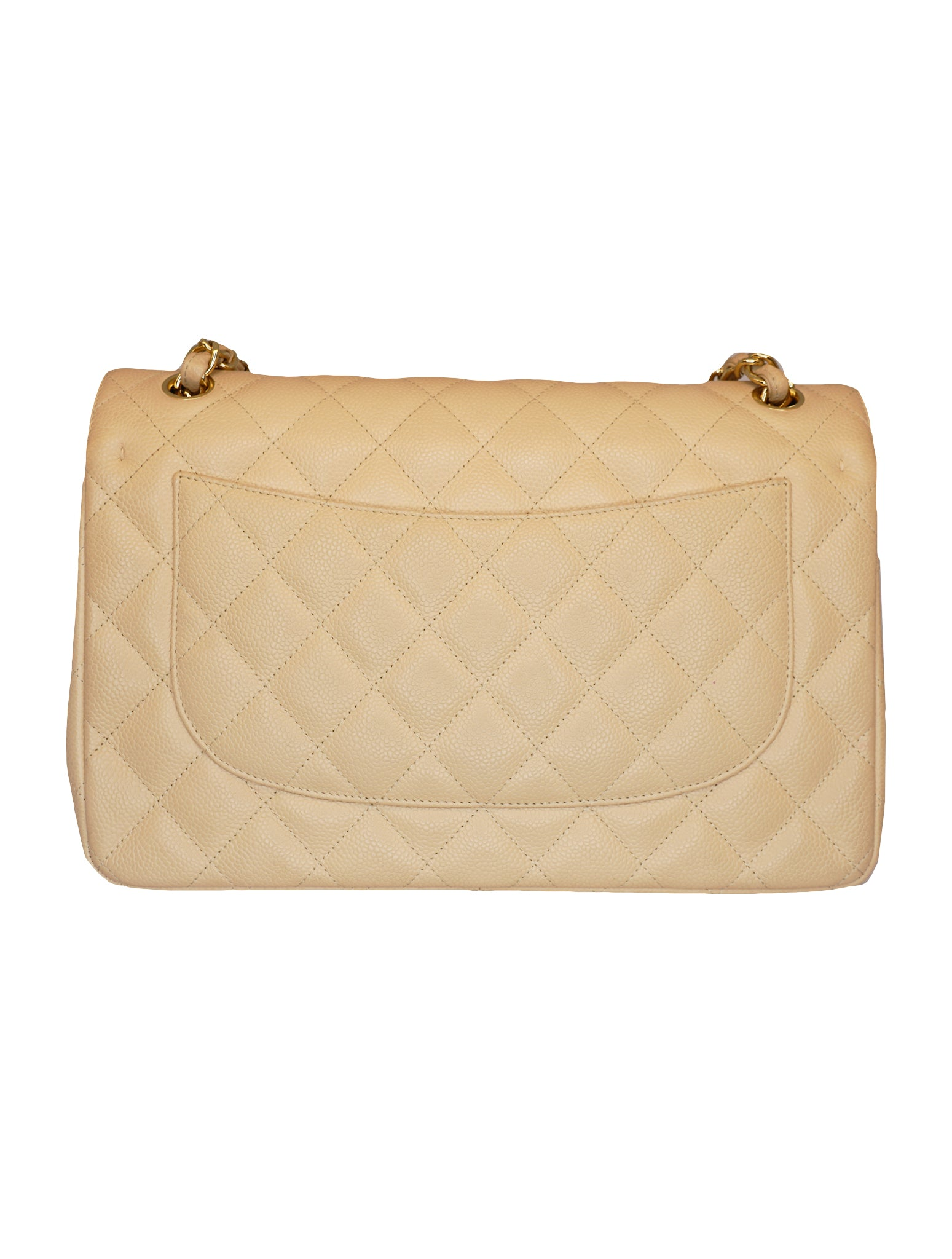 BEIGE CAVIAR LEATHER CLASSIC DOUBLE FLAP