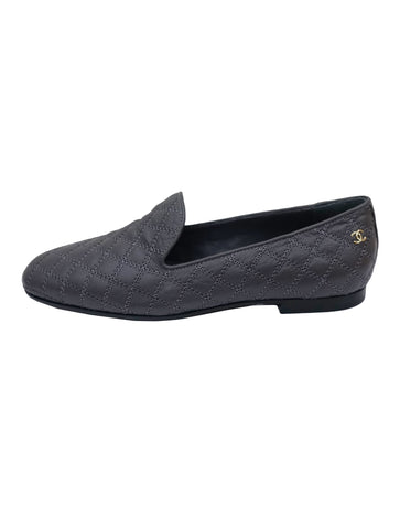 DARK GRAY QUILTED LEATHER BALLERINA FLATS