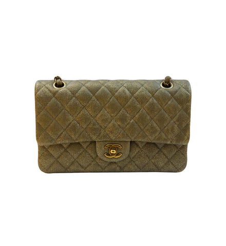 GOLD QUILTED CAVIAR LEATHER MEDIUM CLASSIC DOUBLE FLAP BAG