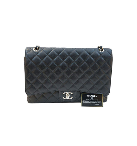 BLACK CAVIAR LEATHER CLASSIC MAXI DOUBLE FLAP SILVER HARDWARE BAG