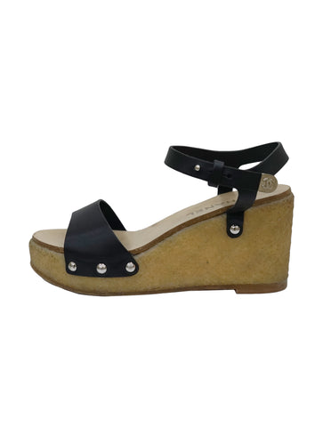 LEATHER ANKLE STRAP PLATFOM WEDGE SANDALS