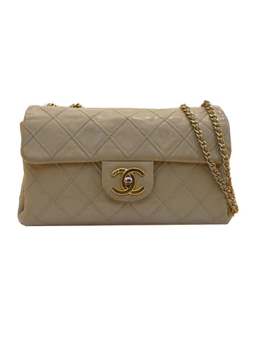 BEIGE CALF ULTIMATE STITCH FLAP BAG