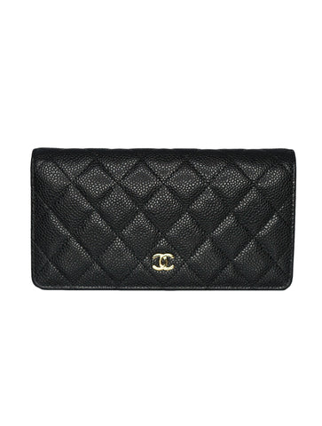 QUILTED CAVIAR LEATHER Y YEN CONTINENTAL WALLET
