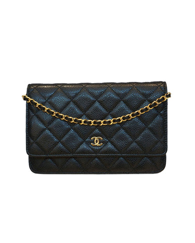 QUILTED CAVIAR LEATHER WALLET ON CHAIN