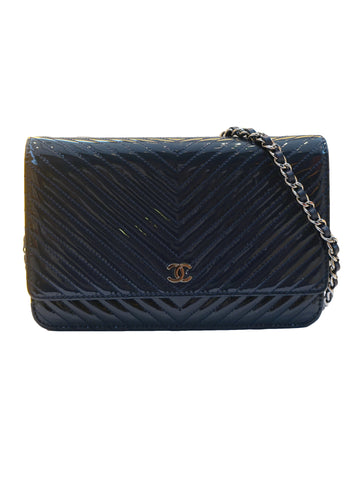 PATENT CHEVRON LEATHER WALLET ON CHAIN