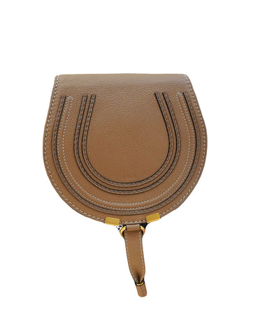 BROWN GRAIN CALFSKIN LEATHER MARCIE ROUND SADDLE MINI BAG