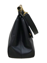 BLACK LEATHER LARGE MISS SICILY TOTE
