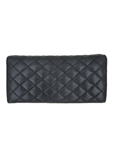 BLACK QUILTED LEATHER FLAP WALLET