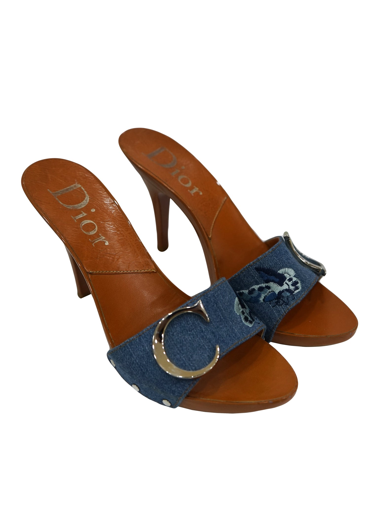 DENIM GALLIANO COLLECTION MULES SLIDES