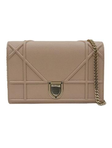 BEIGE GRAINED LEATHER DIORAMA CHAIN CLUTCH