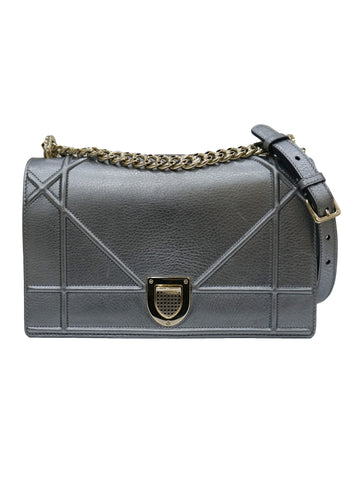 METALLIC CALFSKIN DIORAMA SHOULDER BAG