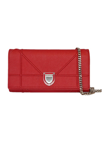 RED LEATHER DIORAMA WALLET ON CHAIN