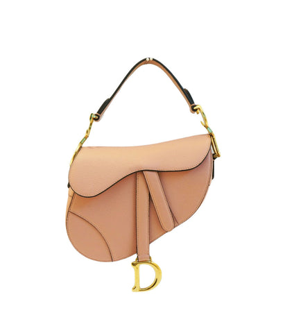 LIGHT PINK GRAINED LEATHER MINI SADDLE BAG