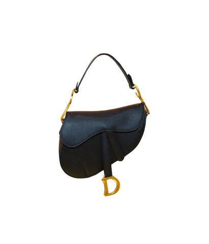 BLACK GRAINED CALFSKIN SADDLE BAG