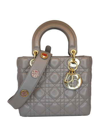GRAY CANNAGE CALFSKIN LADY DIOR BAG
