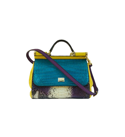 MULTICOLOR CROCODILE & PYTHONMEDIUM MISS SICILY TOP HANDLE BAG