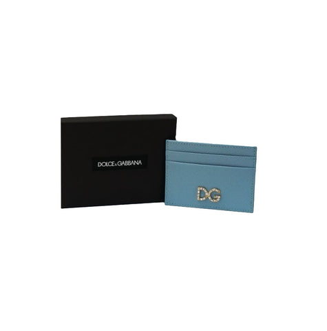 LIGHT BLUE DAUPHINE LEATHER CRYSTAL LOGO CARD HOLDER