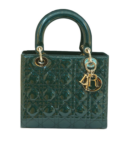 GREEN PATENT LEATHER MEDIUM LADY DIOR BAG