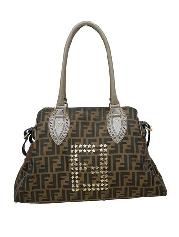 TOBACCO ZUCCA PRINT CANVAS STUDDED TOTE BAG
