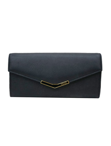 BLACK LEATHER 2JOUR CONTINENTAL WALLET