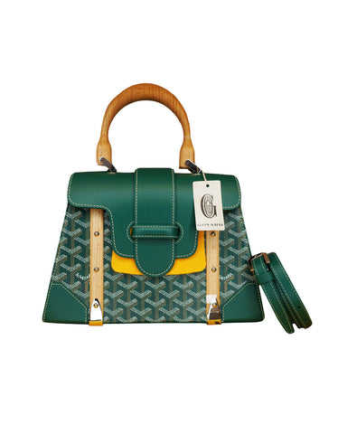 GREEN COATED CANVAS SAIGON PM TOP HANDLE BAG