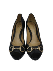 GUCCISSIMA LEATHER HORSEBIT DETAIL PEEP TOE PUMP