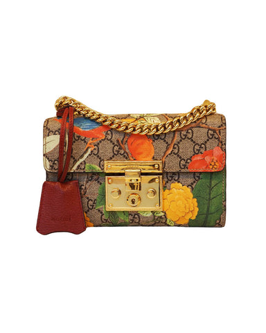 MULTICOLORED TIAN GG SUPREME CANVAS AND LEATHER SMALL SHOULDER BAG