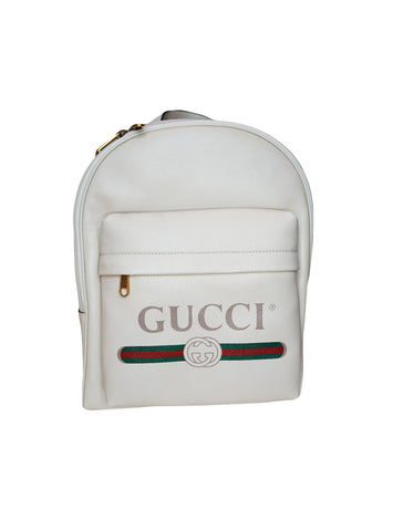 CREAM WHITE LEATHER GUCCI PRINT BACKPACK