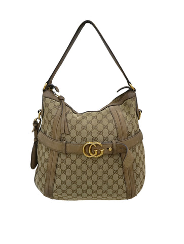 GG RUNNING DOUBLE G CANVAS HOBO BAG