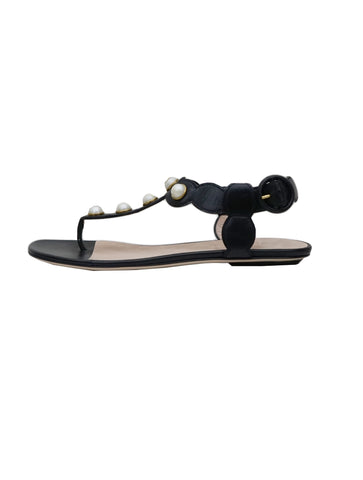 BLACK LEATHER PEARL SANDALS