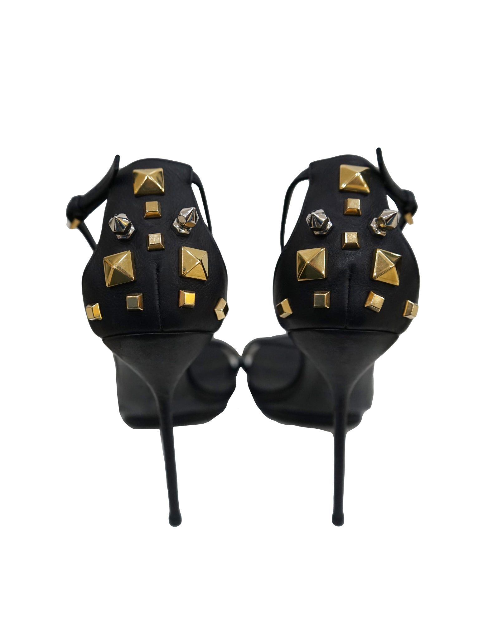 BLACK LEATHER STIKES SANDALS