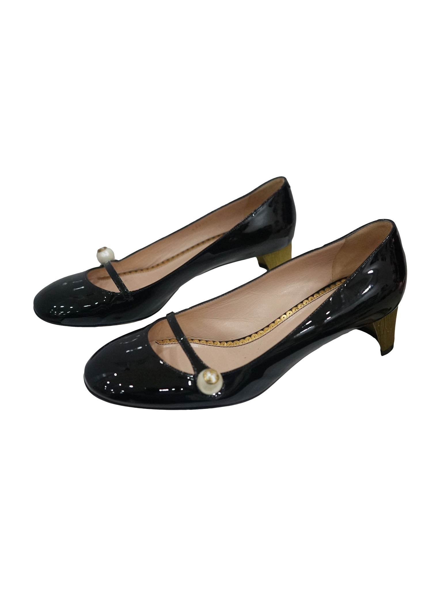 PATENT LEATHER FAUX PEARL DETAIL MARY JANE