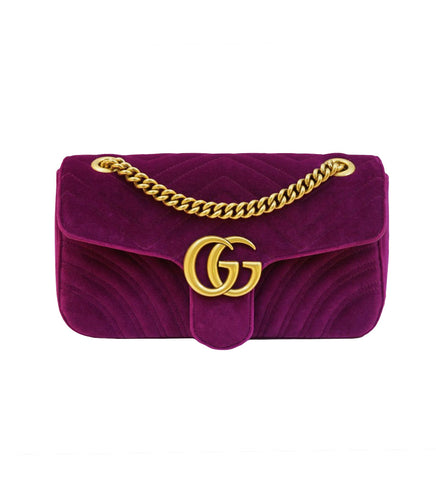 PURPLE VELVET GG MARMONT SMALL SHOULDER BAG