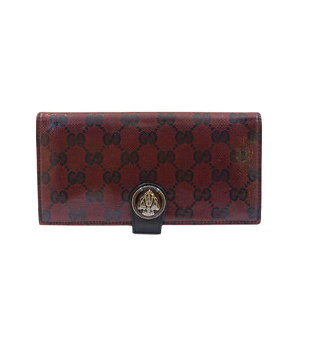 CRYSTAL CANVAS RED BLACK GUCCISSIMA GG SNAP CLOSURE BIFOLD COIN WALLET