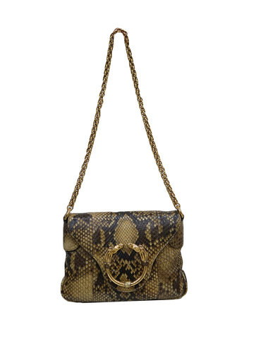 SNAKESKIN RIBOT HORSE HEAD CHAIN SHOULDER BAG