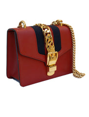 SYLVIE RED LEATHER MINI CHAIN BAG