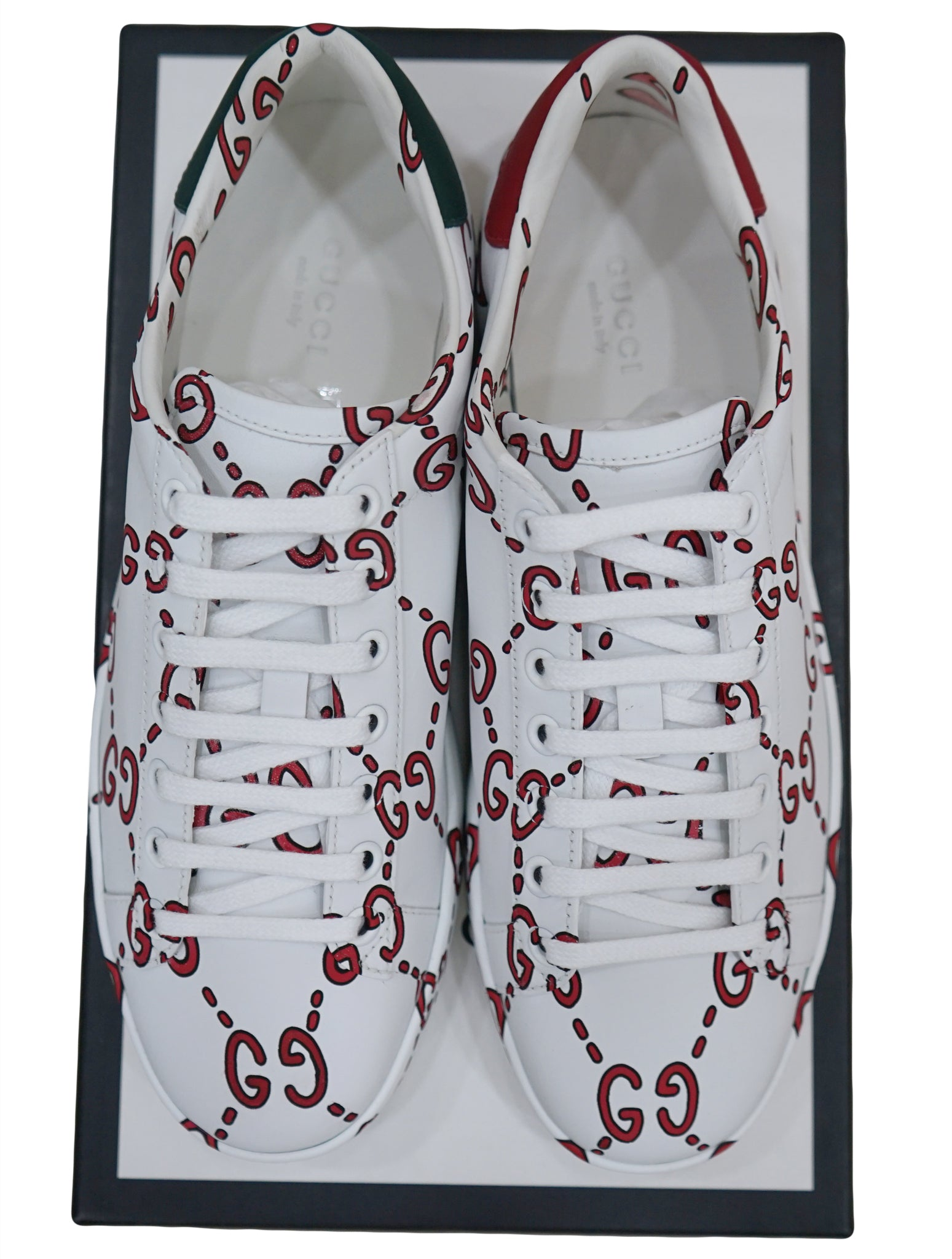 ACE GG CHAIN PRINT SOFT LEATHER SNEAKERS
