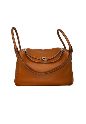 NATURAL SABLE CLEMENCE LEATHER AND SILVER HARDWARE LINDY 34 BAG