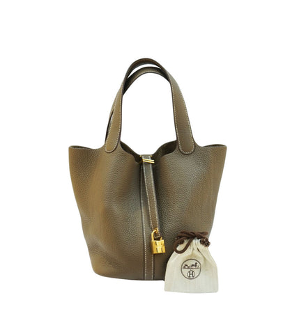 ETOUP CLEMENCE LEATHER PICOTIN LOCK 22 BAG