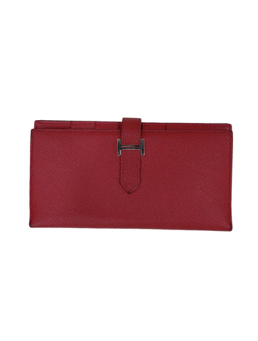 VERMILLION EPSOM BEARN GUSSET WALLET