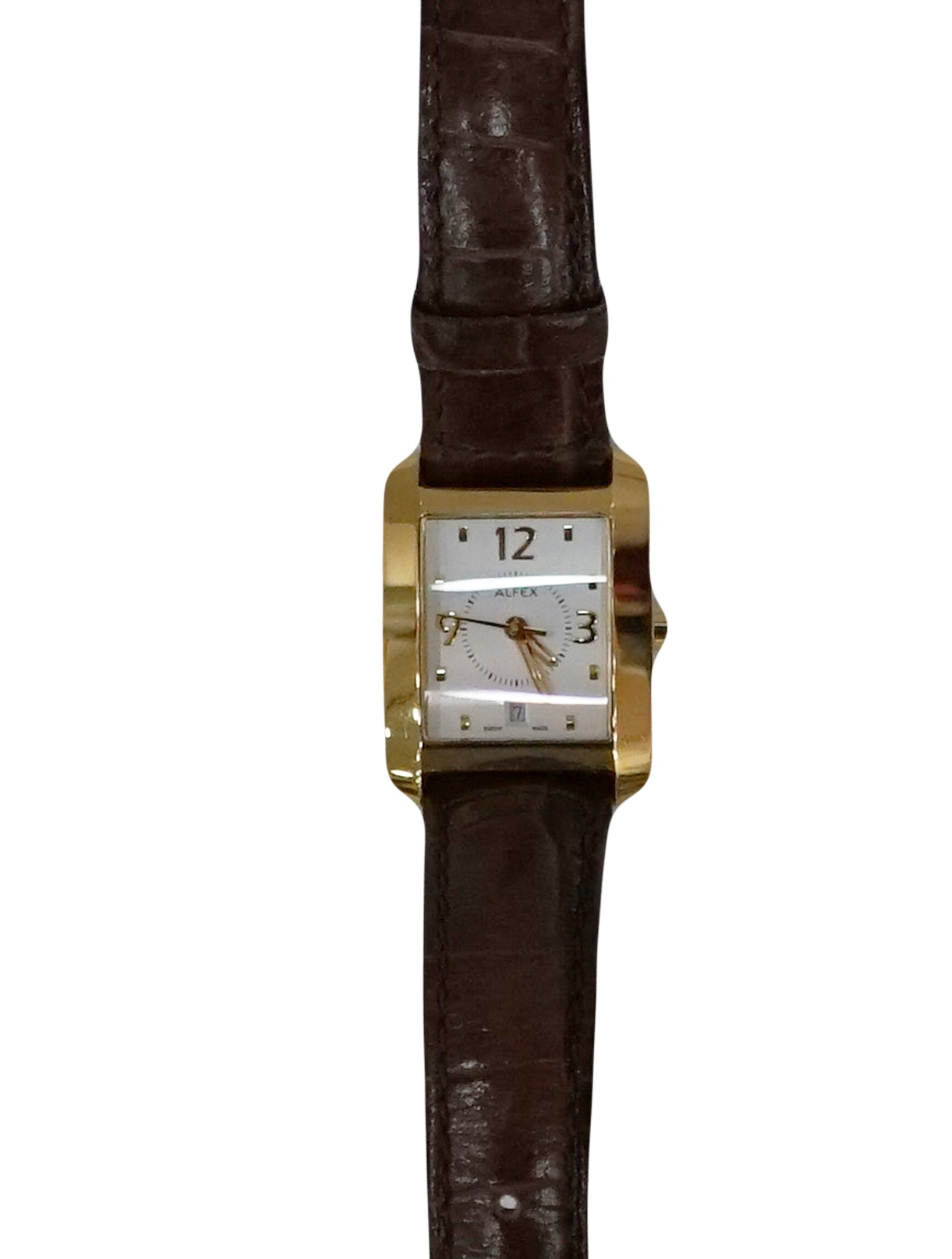 LEATHER GOLD TONE WRISTWATCH