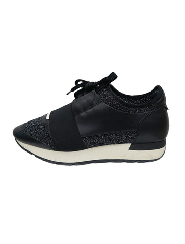 BLACK GLITTERLUREX RACE RUNNER SNEAKERS