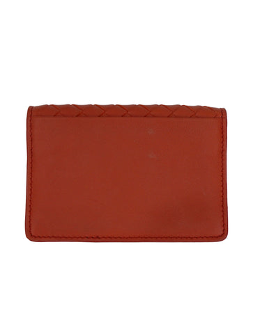 RED ORANGE INTERCIATTO LEATHER CARD CASE