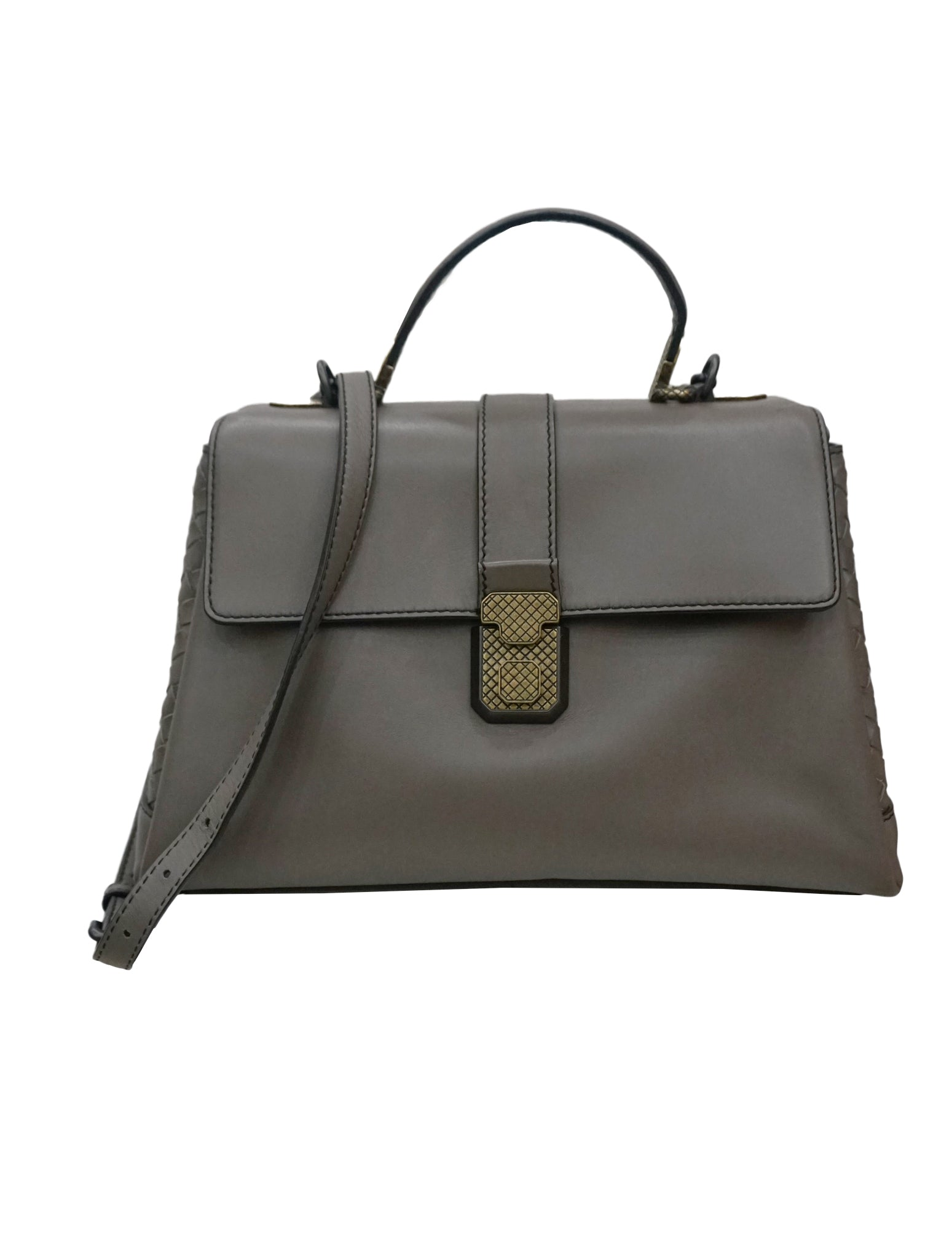 GRAY LEATHER NAPPA PIAZZA TOP HANDLE BAG