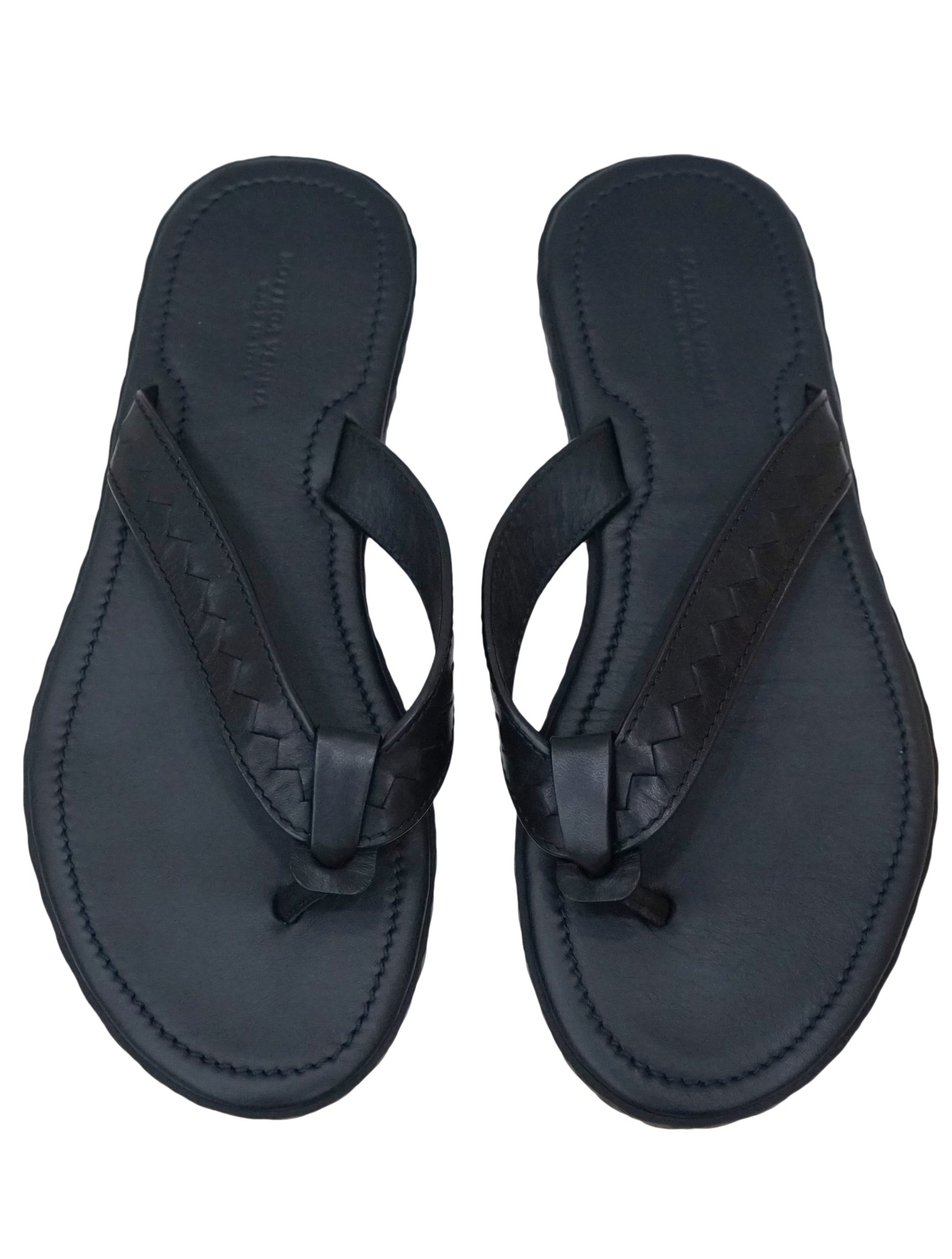 BLACK LEATHER FLIP FLOPS
