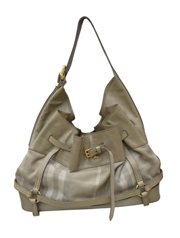 CHECK FABRIC & LEATHER HOBO BAG