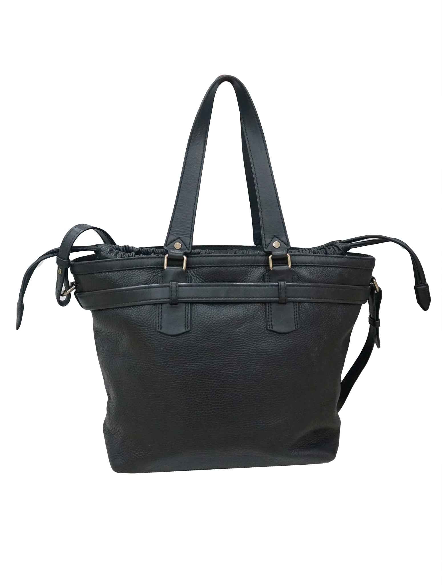 BLACK PEBBLED LEATHER DRAWSTRING TOTE